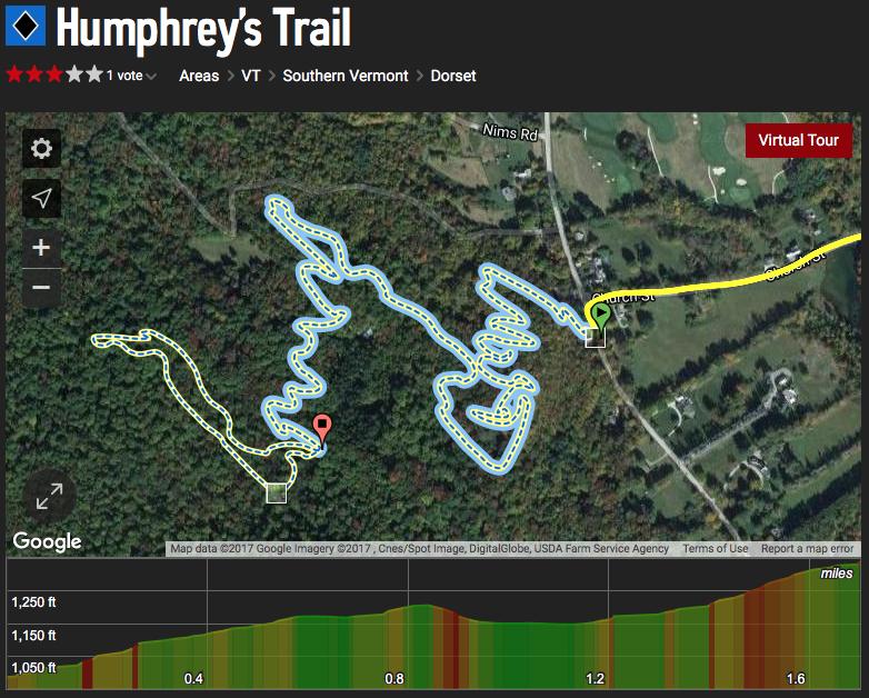 Humphrey's Mountain Bike Trail map